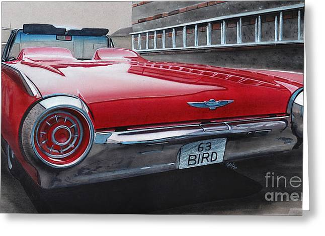 1963 Ford Drawings Greeting Cards - 1963 Ford Thunderbird Greeting Card by Paul Kuras