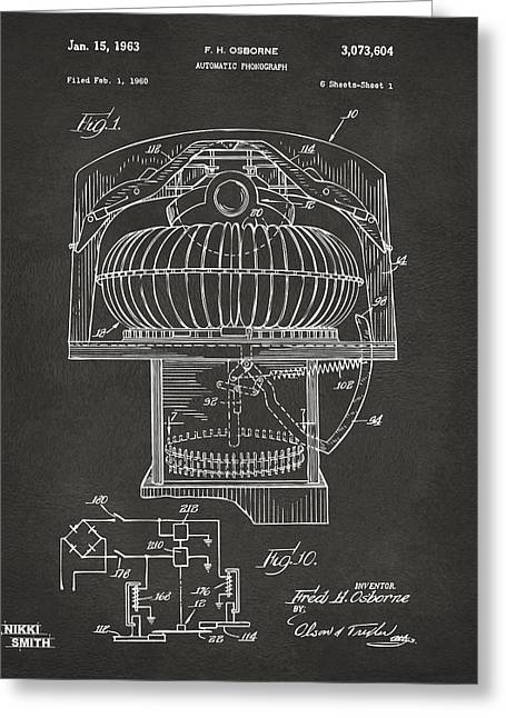 Gift For Greeting Cards - 1963 Jukebox Patent Artwork - Gray Greeting Card by Nikki Marie Smith