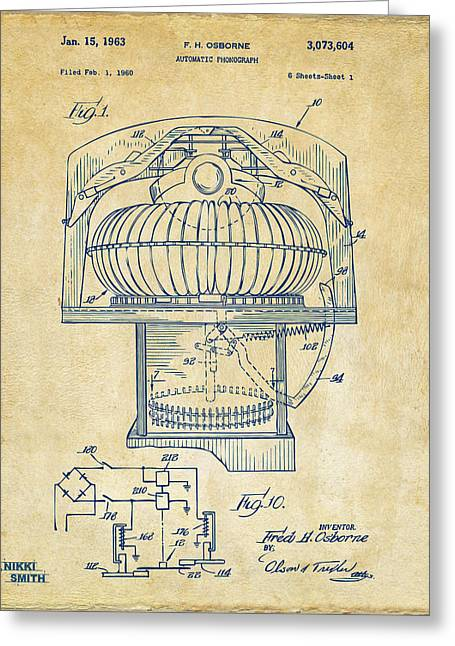Phonograph Greeting Cards - 1963 Jukebox Patent Artwork - Vintage Greeting Card by Nikki Marie Smith