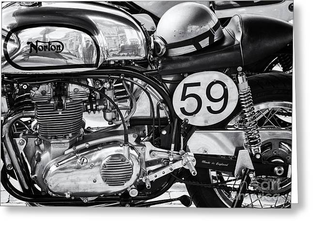 Gas Tank Greeting Cards - 1963 Manx Norton Monochrome Greeting Card by Tim Gainey