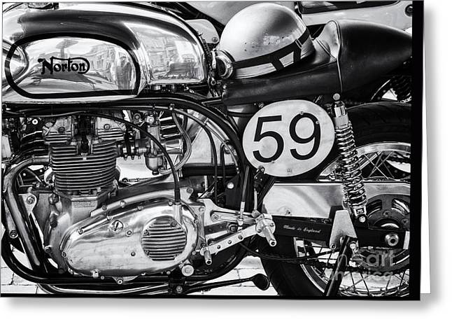 Monochrome Greeting Cards - 1963 Manx Norton Monochrome Greeting Card by Tim Gainey