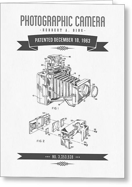 Camera Greeting Cards - 1963 Photographic Camera Patent Drawing - Retro Gray Greeting Card by Aged Pixel