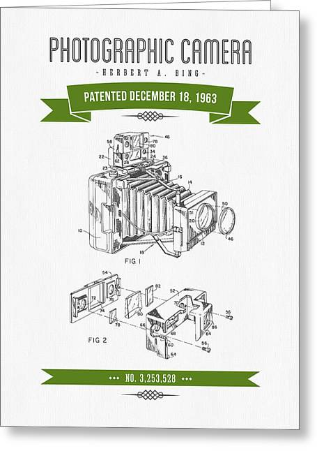 Camera Greeting Cards - 1963 Photographic Camera Patent Drawing - Retro Green Greeting Card by Aged Pixel