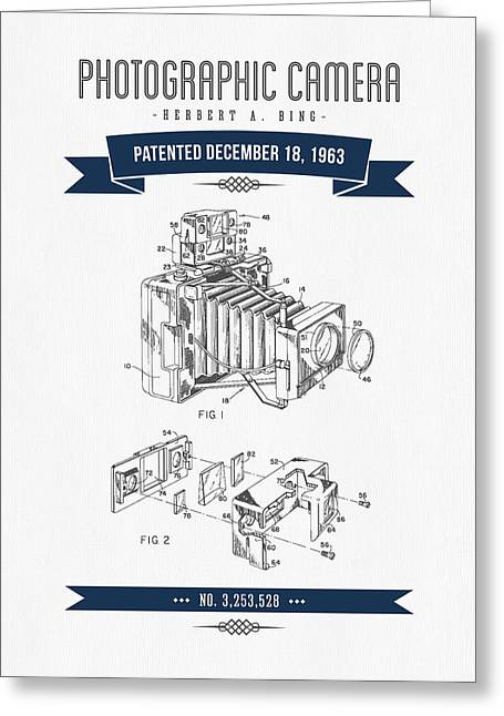 Camera Greeting Cards - 1963 Photographic Camera Patent Drawing - Retro Navy Blue Greeting Card by Aged Pixel