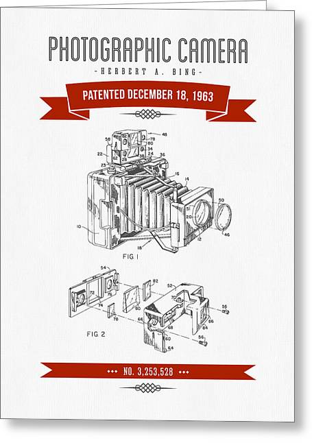 Camera Greeting Cards - 1963 Photographic Camera Patent Drawing - Retro Red Greeting Card by Aged Pixel