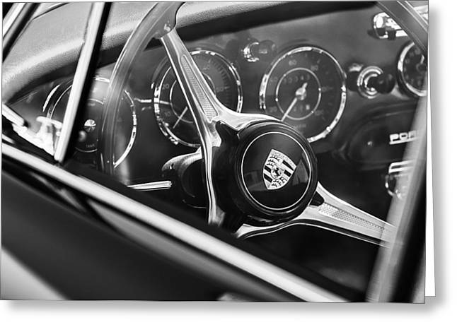 Photos Of Car Greeting Cards - 1963 Porsche 356 B 1600 Coupe Steering Wheel Emblem Greeting Card by Jill Reger
