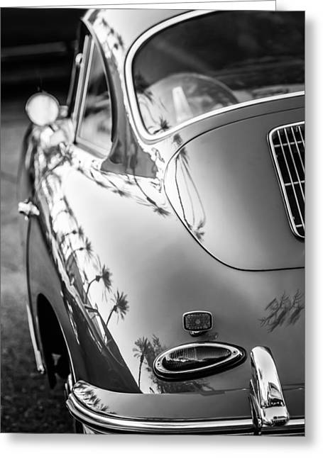 Famous Photographer Greeting Cards - 1963 Porsche 356B S Coupe Taillight -1241bw Greeting Card by Jill Reger