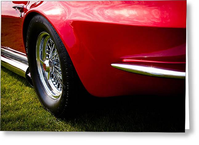 Red Street Rod Greeting Cards - 1963 Red Chevy Corvette Stingray Greeting Card by David Patterson