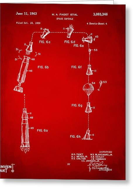 Nasa Space Shuttle Greeting Cards - 1963 Space Capsule Patent Red Greeting Card by Nikki Marie Smith