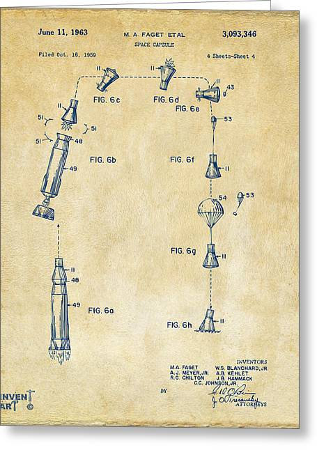 Office Space Greeting Cards - 1963 Space Capsule Patent Vintage Greeting Card by Nikki Marie Smith