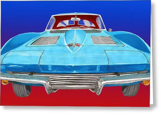 Rear Window Greeting Cards - 1963 Split Window Corvette Front Greeting Card by Jack Pumphrey