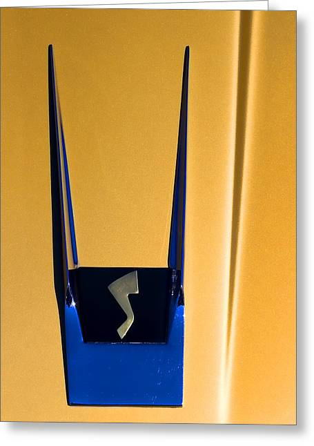 Vintage Hood Ornaments Greeting Cards - 1963 Studebaker Avanti Emblem Greeting Card by Carol Leigh