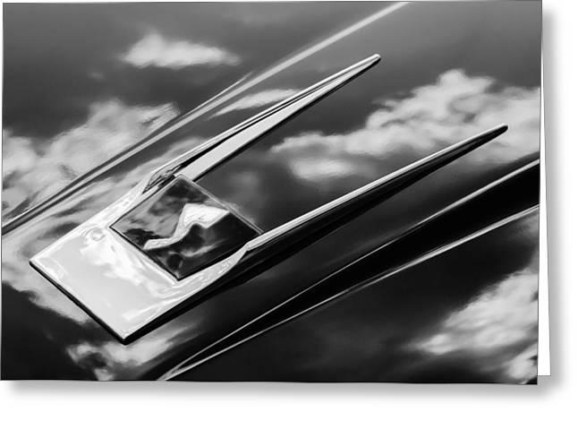Black And White Photos Greeting Cards - 1963 Studebaker Avanti Logo -0152bw Greeting Card by Jill Reger