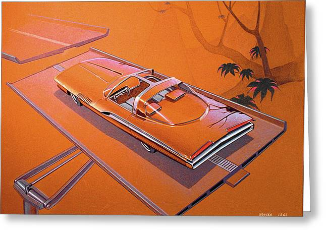 Automotive History Greeting Cards - 1963 TURBINE SHOW CAR  Plymouth concept car vintage styling design concept rendering sketch Greeting Card by John Samsen