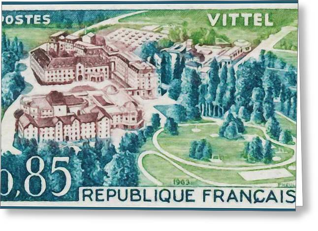 """france Poster"" Greeting Cards - 1963 Vittel Greeting Card by Lanjee Chee"