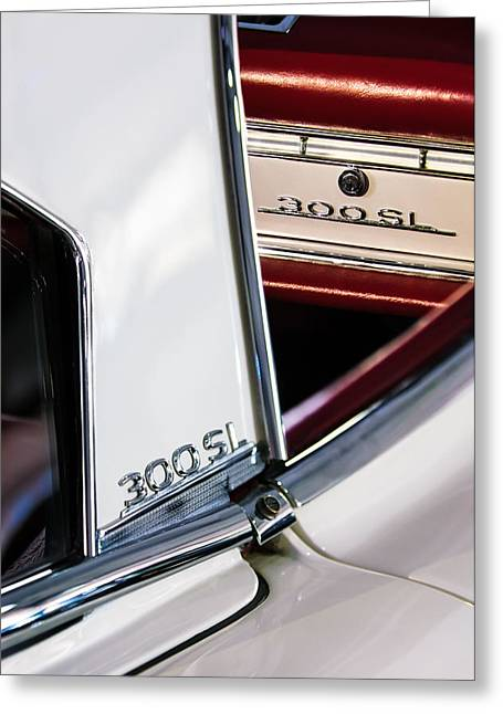 1963 Mercedes-benz 300 Sl Roadster Emblems Greeting Card by Jill Reger