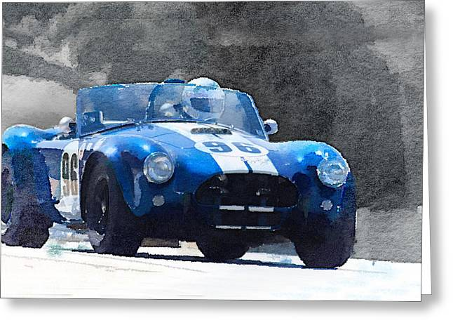Ac Greeting Cards - 1964 AC Cobra Shelby Racing Watercolor Greeting Card by Naxart Studio