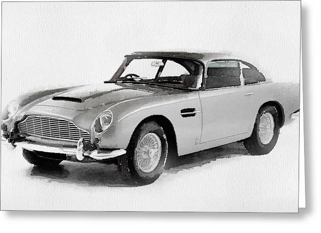 British Classic Cars Greeting Cards - 1964 Aston Martin DB5 Watercolor Greeting Card by Naxart Studio