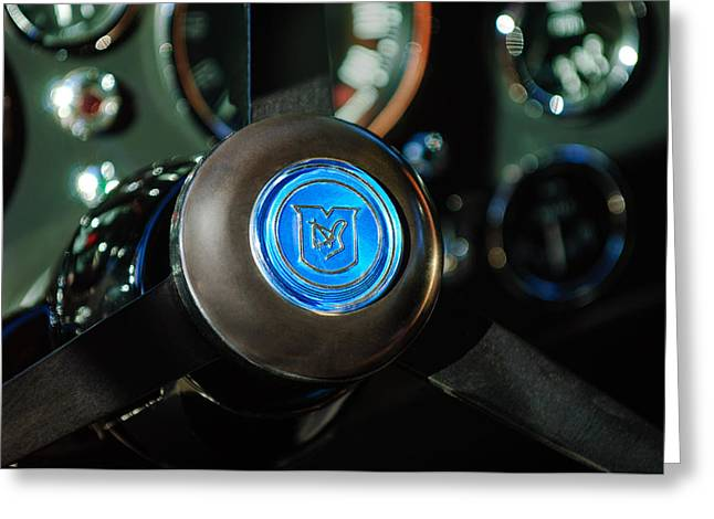 Steering Greeting Cards - 1964 Aston Martin Steering Wheel Emblem Greeting Card by Jill Reger
