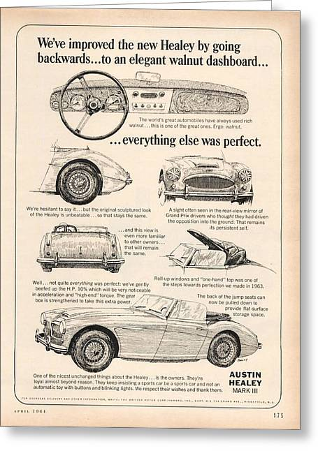 Rally Greeting Cards - 1964 Austin Healey Greeting Card by Nomad Art And  Design
