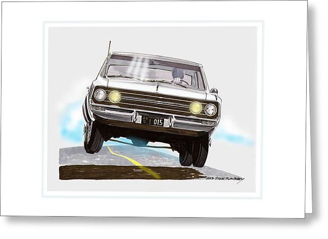 Running Back Drawings Greeting Cards - Bad Ass 1965 Olds F 85 Cutlass Greeting Card by Jack Pumphrey