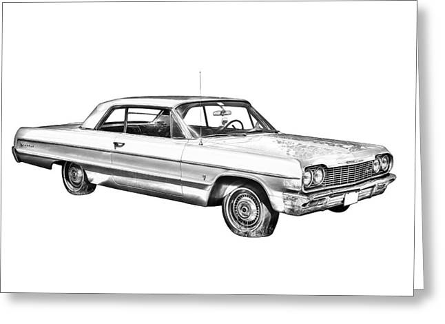 White Chevy Greeting Cards - 1964 Chevrolet Impala Car Illustration Greeting Card by Keith Webber Jr