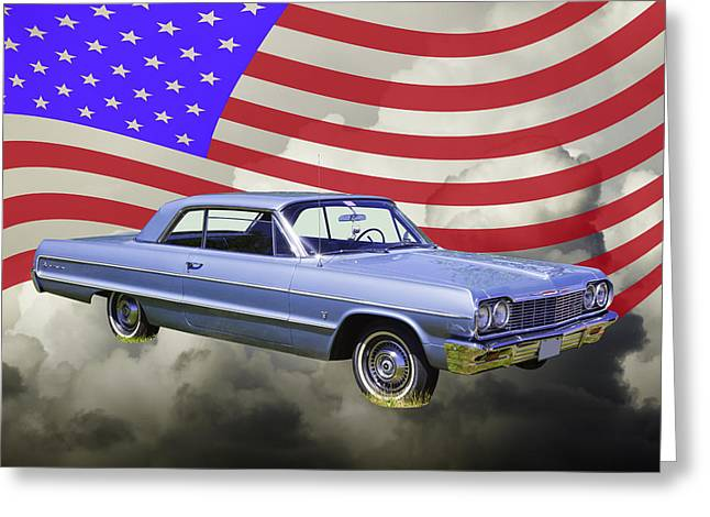 White Chevy Greeting Cards - 1964 Chevrolet Impala Muscle Car And American Flag Greeting Card by Keith Webber Jr