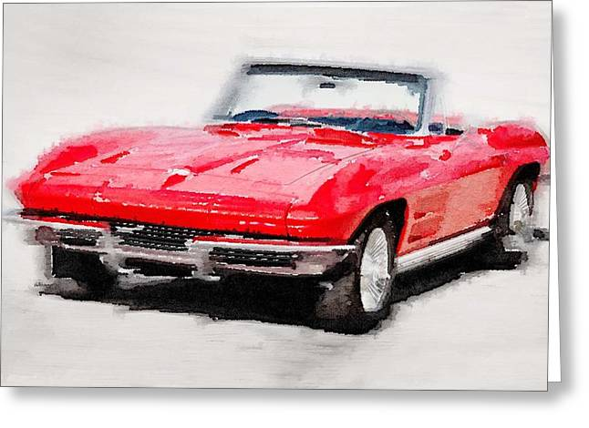 Stingrays Greeting Cards - 1964 Corvette Stingray Watercolor Greeting Card by Naxart Studio