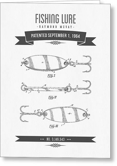 Fishing Mixed Media Greeting Cards - 1964 Fishing Lure Patent Drawing 01 Greeting Card by Aged Pixel