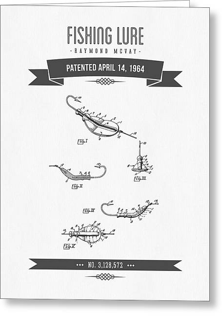 Fishing Mixed Media Greeting Cards - 1964 Fishing Lure Patent Drawing Greeting Card by Aged Pixel