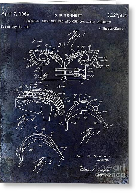 Fantasy Football Greeting Cards - 1964 Football Shoulder Pads Patent Blue Greeting Card by Jon Neidert
