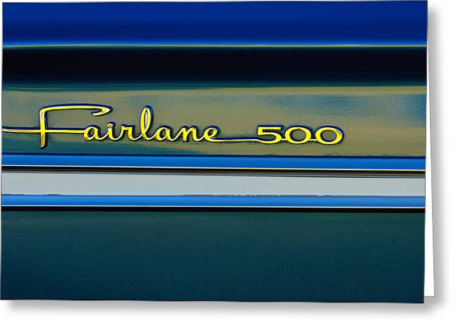 1964 Ford Emblems Greeting Cards - 1964 Ford Fairlane 500 Emblem Greeting Card by Jill Reger