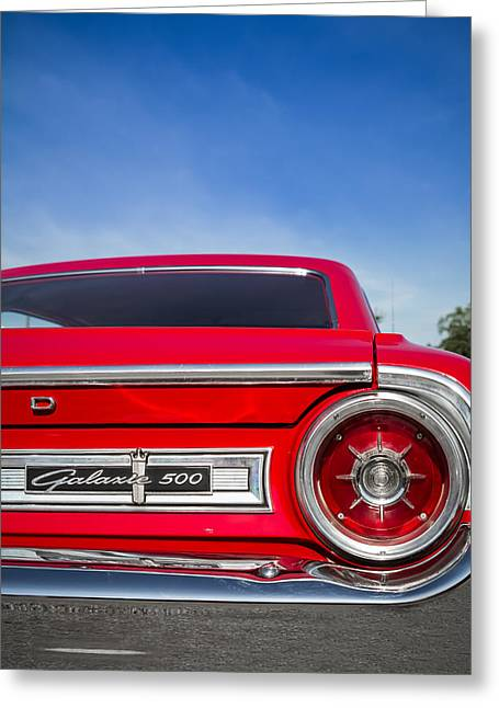 1964 Ford Emblems Greeting Cards - 1964 Ford Galaxie 500 Taillight and Emblem Greeting Card by Ron Pate