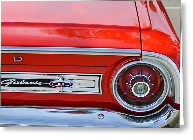 1964 Ford Emblems Greeting Cards - 1964 Ford Galaxie 500XL Taillight Emblem Greeting Card by Jill Reger
