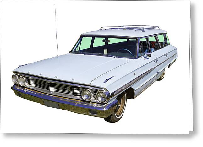 Blue Ford Greeting Cards - 1964 Ford Galaxy Country Sedan Stationwagon Greeting Card by Keith Webber Jr