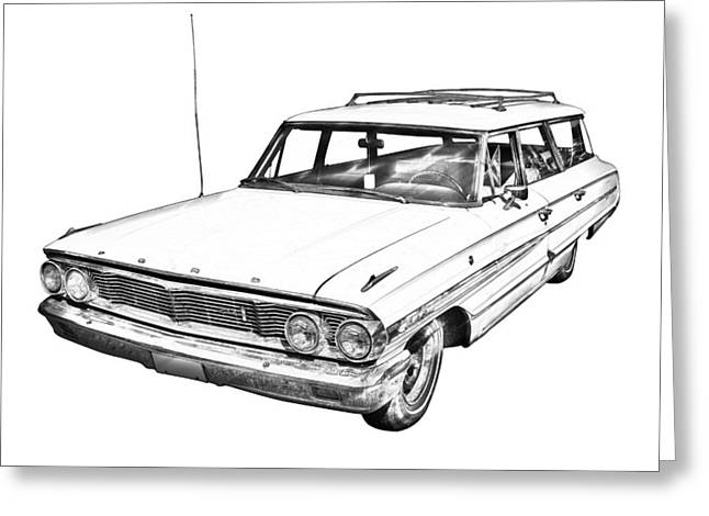 Ford Automobiles Greeting Cards - 1964 Ford Galaxy Country Stationwagon Illustration Greeting Card by Keith Webber Jr