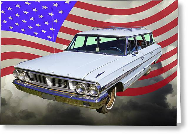 Blue Ford Greeting Cards - 1964 Ford Galaxy Stationwagon And American Flag Greeting Card by Keith Webber Jr