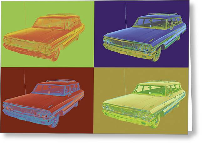 Ford Automobiles Greeting Cards - 1964 Ford Galaxy Stationwagon Pop Art Greeting Card by Keith Webber Jr