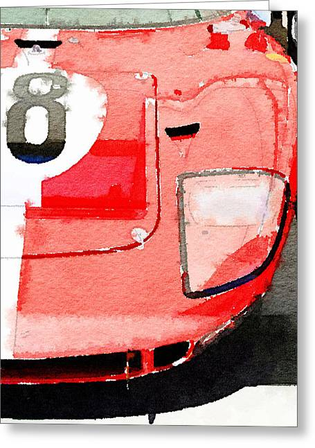 Ford Greeting Cards - 1964 Ford GT40 Front Detail Watercolor Greeting Card by Naxart Studio