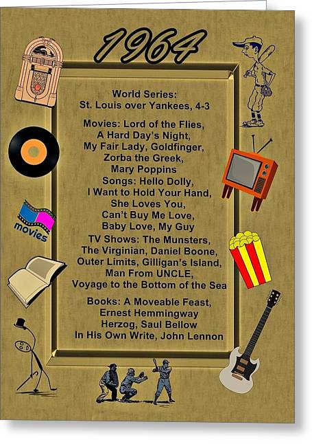 1964 Movies Greeting Cards - 1964 Great Events Greeting Card by Movie Poster Prints