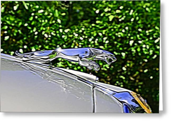 Collector Hood Ornament Greeting Cards - 1964 Jaguar Mark II 3.4 Hood Ornament Greeting Card by Allen Beatty