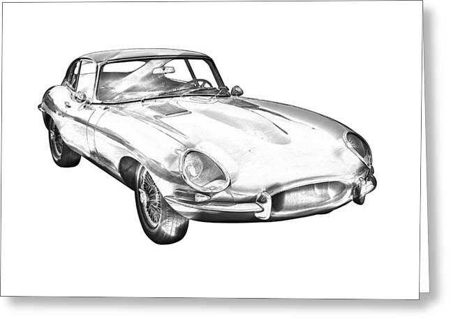 Stylish Car Greeting Cards - 1964 Jaguar XKE Antique Sportscar Illustration Greeting Card by Keith Webber Jr