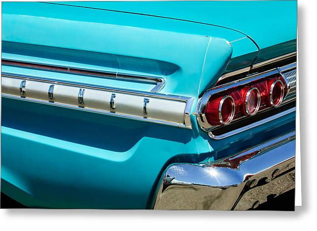Comet Greeting Cards - 1964 Mercury Comet Taillight Emblem Greeting Card by Jill Reger