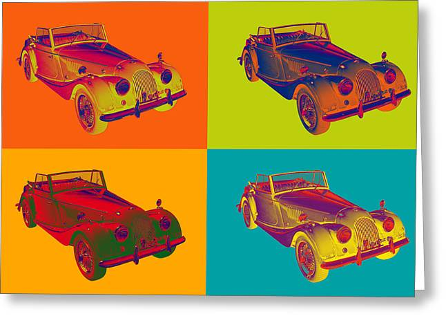 Oldtimer Greeting Cards - 1964 Morgan Plus 4 Convertible Pop Art Greeting Card by Keith Webber Jr
