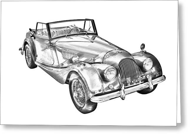 Antique Automobiles Greeting Cards - 1964 Morgan Plus 4 Convertible Sports Car Illustration Greeting Card by Keith Webber Jr