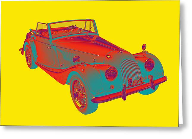 Antique Automobile Greeting Cards - 1964 Morgan Plus 4 Convertible Sports Car Pop Art Greeting Card by Keith Webber Jr