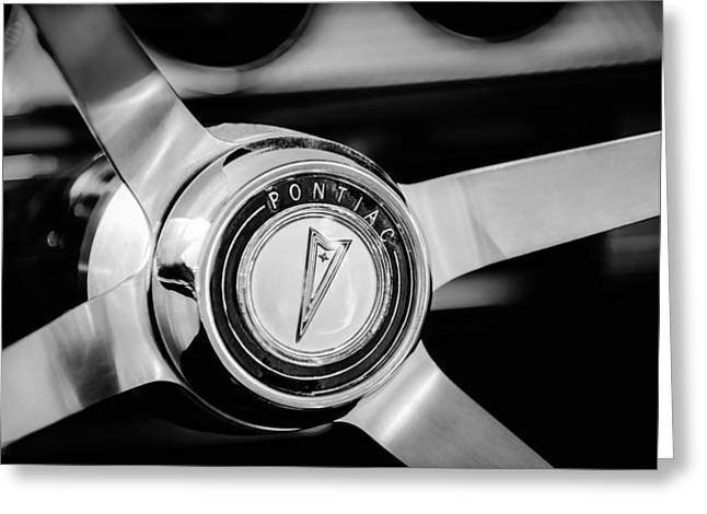 1964 Pontiac Gto Convertible Steering Wheel Emblem -1014bw Greeting Card by Jill Reger