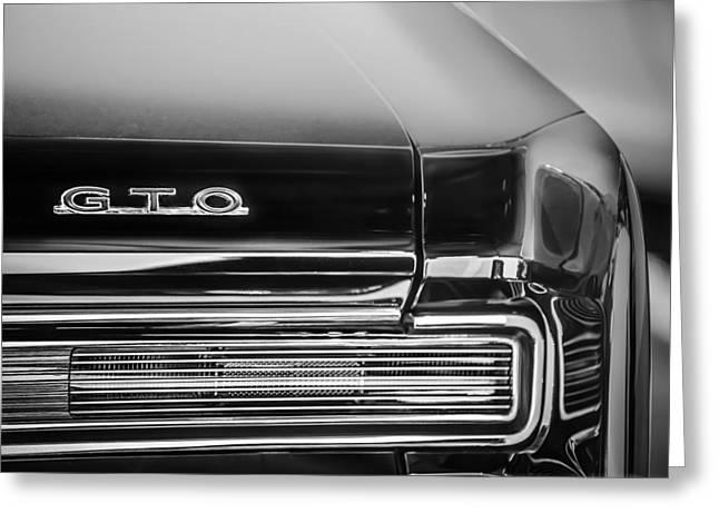 1964 Pontiac Gto Convertible Taillight Emblem -1039bw Greeting Card by Jill Reger