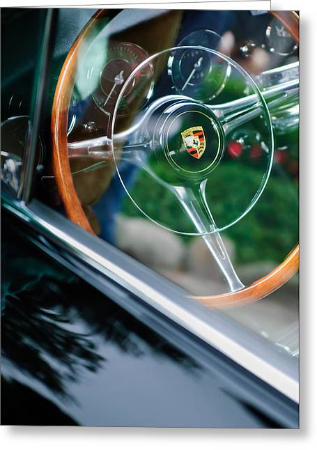 Steering Greeting Cards - 1964 Porsche 356 C Cabriolet Steering Wheel Emblem Greeting Card by Jill Reger