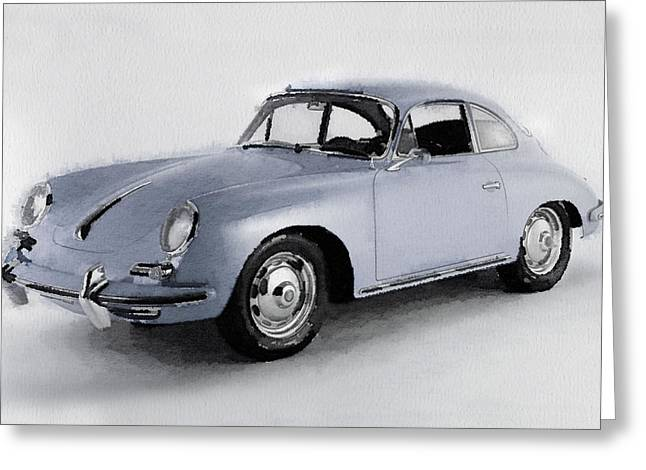 Classic Porsche 356 Greeting Cards - 1964 Porsche 356B Watercolor Greeting Card by Naxart Studio
